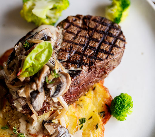 Seared Eye Fillet with Potato & Thyme Galette