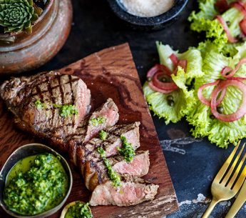 BBQ Porterhouse Steak with Chimichurri & Butter Lettuce Salad
