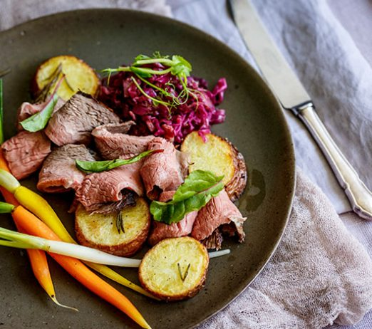Salt & Pepper Beef Roast with Cider & Bacon Braised Red Cabbage