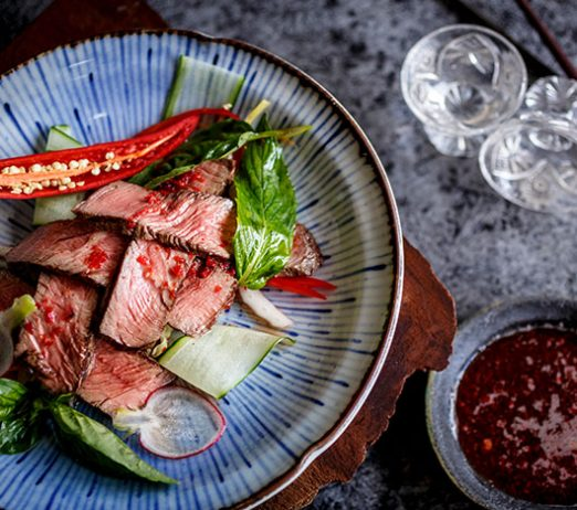 Rare Roasted Eye Fillet with Crunchy Raw Salad, Fresh Chilli & Lime Dressing