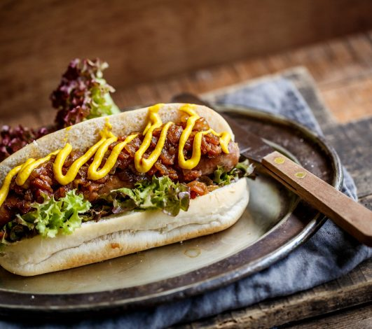 Classic Harvey Beef Hotdog with Whisky & Bacon Jam