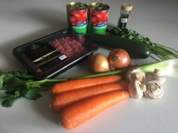 Ingredients for Slow cooked Harvey Beef spaghetti bolognese with hidden veggies