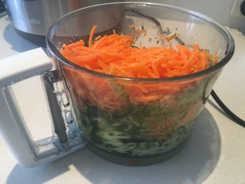 Shred the veggies in a food processor