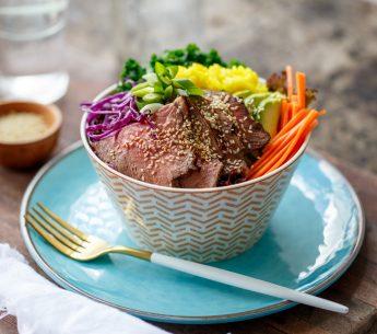 Salt and Pepper Roast Beef Salad Bowl with Sesame &