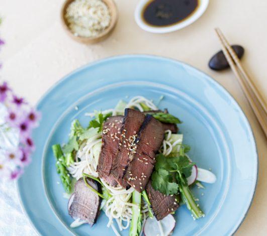 Teriyaki Eye Fillet with Soba Noodle & Asparagus Salad