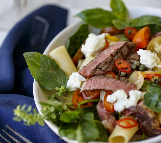 Harvey Beef Grilled Scotch Fillet & Pasta Salad with Summer Tomatoes, Basil & Feta