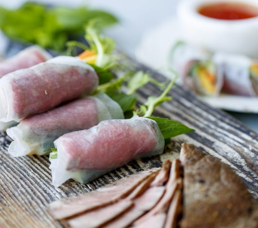 Harvey Beef Rare Roasted Eye Fillet Vietnamese Rice Paper Rolls with Mango & Mint