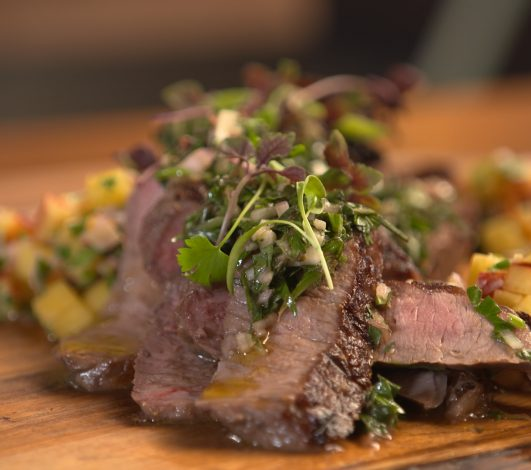 Stuart Law's Porterhouse with Chimichurri & Peach Salsa