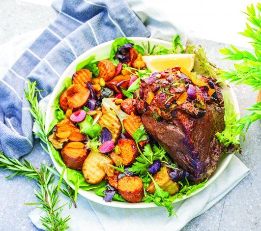 Celebration Roast beef with Festive Stuffing Crust