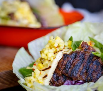 Smashed Harvey Beef patties, jalapeno & pineapple salsa, grilled halloumi in fresh lettuce cups