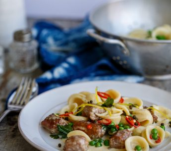 Creamy sausage & orecchiette pasta, summer peas, lemon, chili, capers and baby spinach