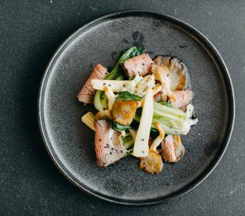 Roasted Rump Salad w/ baby sweet corn, oyster mushrooms, bok choy & sesame soy dressing