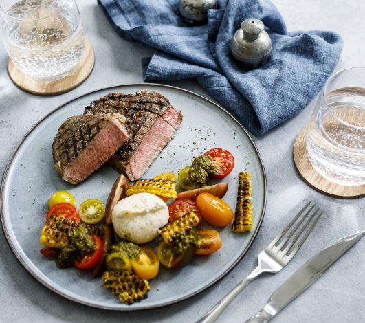 Harvey Beef BBQ Scotch Fillet with Summer Salad Medley Tomato, Bocconcini, Grilled Corn & Pesto