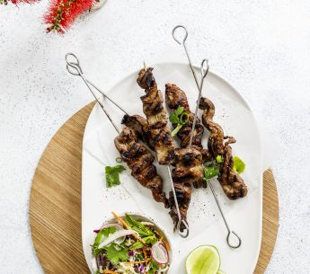 Honey & Soy Glazed Porterhouse Skewers with Asian Sesame Slaw