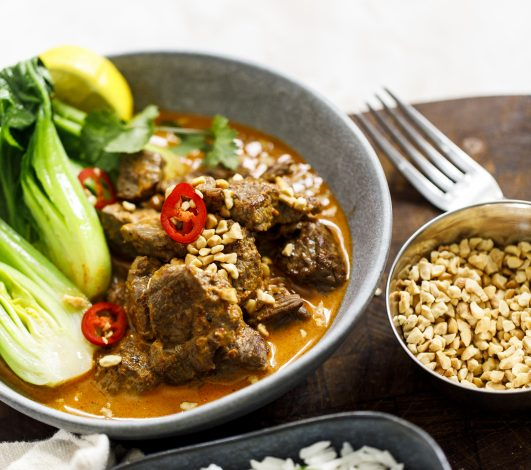 Mild Massaman Coconut Beef Curry with Bokchoy & Roasted Peanuts