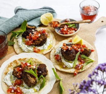 Indian Spiced Beef Wraps with Tzatziki & Tomato Salsa